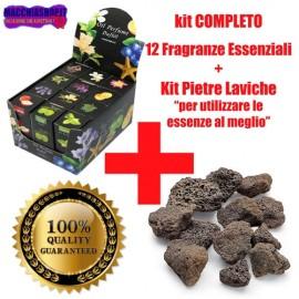 Kit Completo 12 Oli Essenziali Profumati e Pietre Laviche Naturali