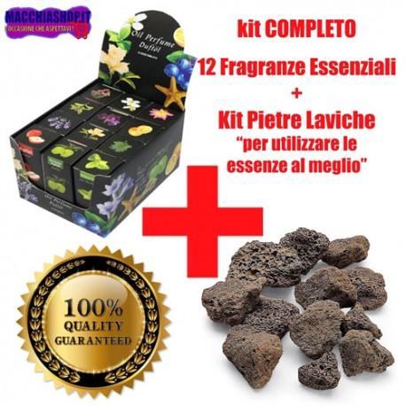 Kit Completo Biocamini con 12 Essenze Profumate e Pietre Laviche