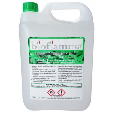 Tanica 5 Litri Bioetanolo Italiano per Biocamini e Biostufe