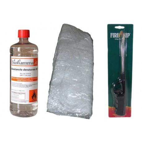 Kit 1 Lt Bioetanolo + 1 Fibra Ceramica + Accendino Collo Lungo per Biocamini