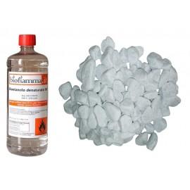 Accessori Biocamino 1 Bottiglia Biofiamma + Pietre Decorative Bianche