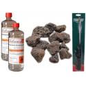 Accessori Biocamini 2 Litri Bioetanolo + Pietre Laviche + Accendino Collo Lungo