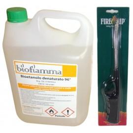 Kit Essenziale per Biocamini 5 Litri Bioetanolo e Accendino a Collo Lungo