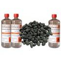 Kit Accessori Biocamino 3 Bottiglie Bioetanolo e Pietre Nere