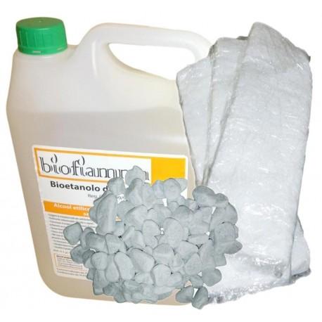 Tanica 5 Litri Bioetanolo Pietre Bianche e 3 Fibre Ceramiche per Biocamini