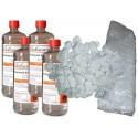 Kit Biocamini 4 Bottiglie Bioetanolo + Fibra Ceramica + Pietre Bianche Decorative