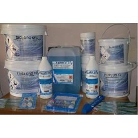 Kit Completo per il Mantenimento Piscina Fino a 6 m3 con Antialghe e Cloro Granulare